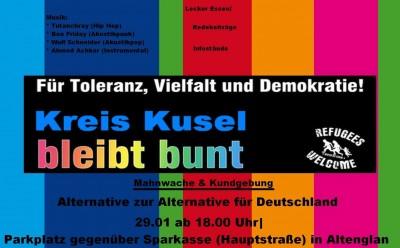 Kusel bleibt bunt und streitet gegen die AFD!